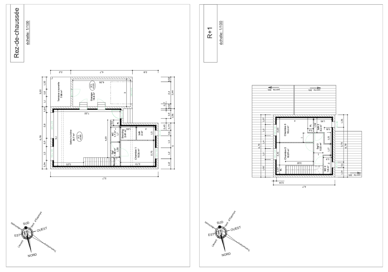plan de maison 3 faces